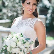 bride, bouquet, roses, greenery
