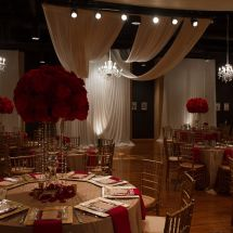 music school, venue, red decor, ceiling drape