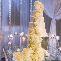 Cascading Flower Cake, white wedding cake, lush flowers, wedding cake inspiration