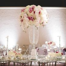 large centerpiece, orchids, purple, sequin runner