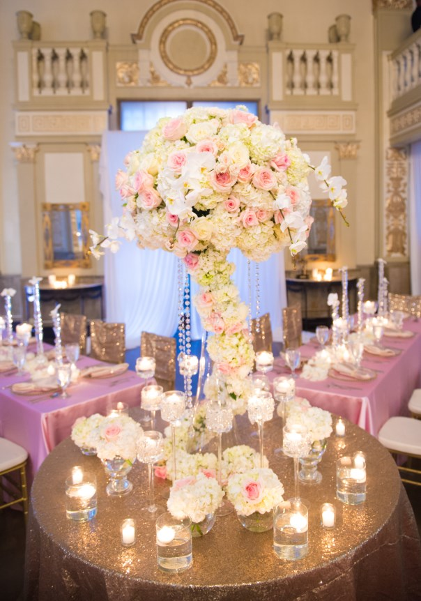 white and pink wedding, gold, orchids, centerpieces