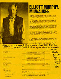 Elliott Murphy - Milwaukee Announcement
