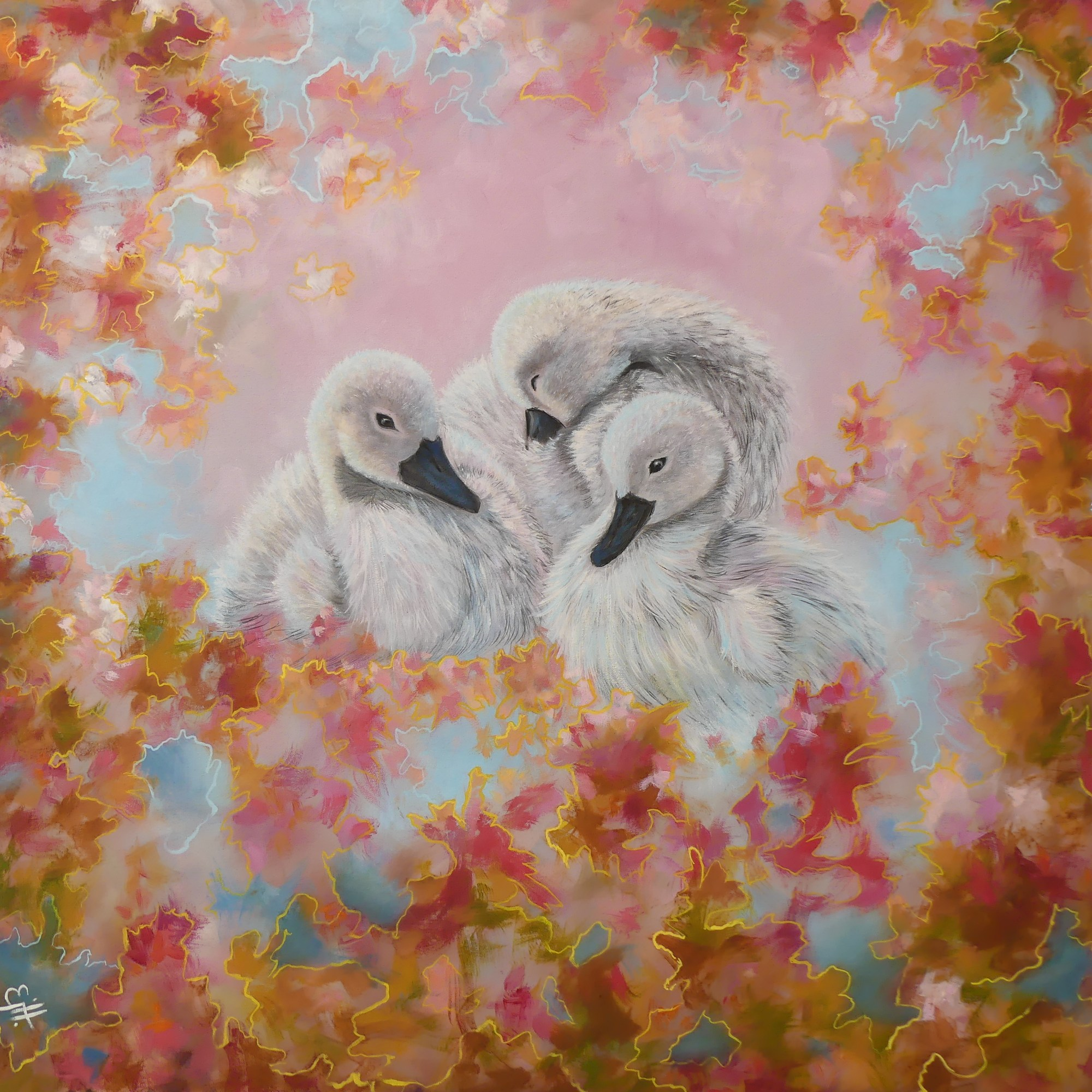 "With a silvery blue and cloud pink background, Rukh Swan Star, the triple Cygnets are surrounded by a burst of old gold, deep rose and pastel pink, Each colour burst is carefully outlined in silver and gold. This is a 12x12"" square premium quality giclée art print from an original oil painting by UK artist Ellisa Hague. Other pieces in this series are available, please visit www.EllisaHagueOriginal.com or visit the Etsy Shop to view them."