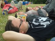Jon, Jim and Adrian relax at 2000Trees Festival 2014