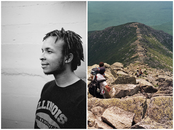 diptych a portrait and a mountain ridge