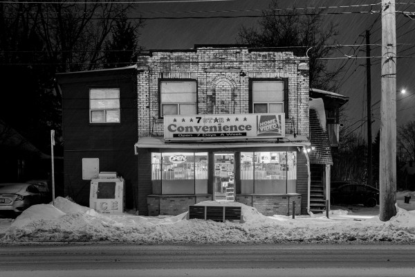 A black and white image of the 7 Star Convenience store in Waterloo, ON, CA.