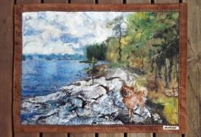 kesämökki, laulu huopasta, käsityö, koiran kuvaus, suomenpystykorva, koira järvi