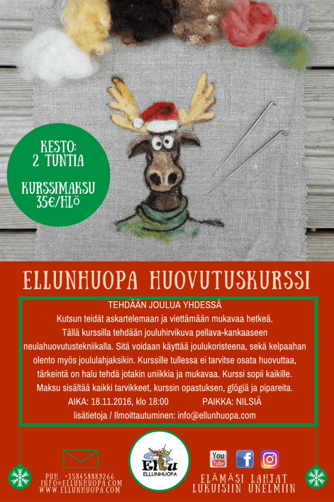 huovutus, pikkujoilu, huovutuskurssi, joulu 2016, pikkujoulu nilsiä kuopio
