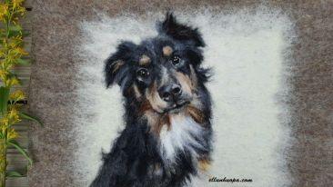koira, huovutus, huopa, käsityö, koiran kuva, koiran taulu