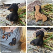 Felted dog brooch | Elena Bondar