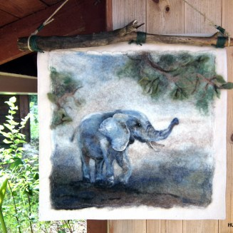 wool art , painting with wool by Elena Bondar