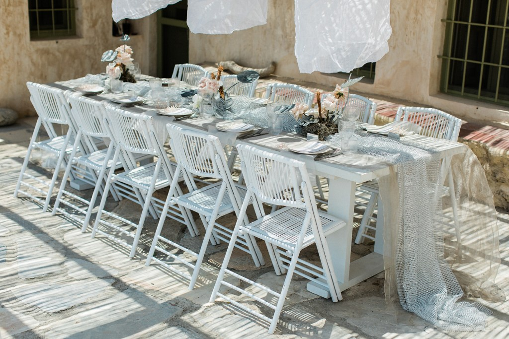 Bohemian Elopemnt Love Story in Mykonos table decor at the private villa