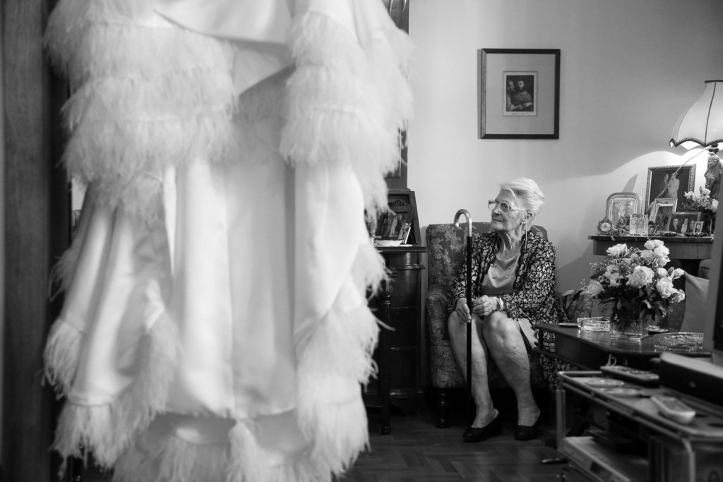 Grandmother of the bride and the bridal dress