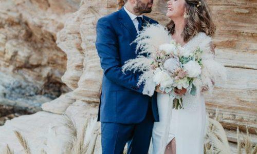 wedding ceremony on the rocks in Ios island