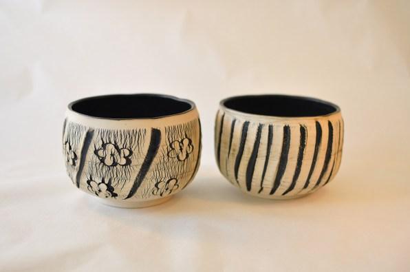 Keramik skål med sorte detaljer - Elly Pedersen Keramik