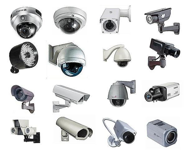 كاميرات المراقبة بمختلف انواعها ويمكن تقسيمها إلي كاميرات داخلية وكاميرات خارجية