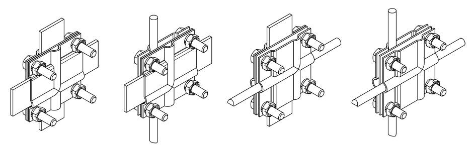 Соединение полосы заземления зажимом соединительным ЗС-2ГЦ