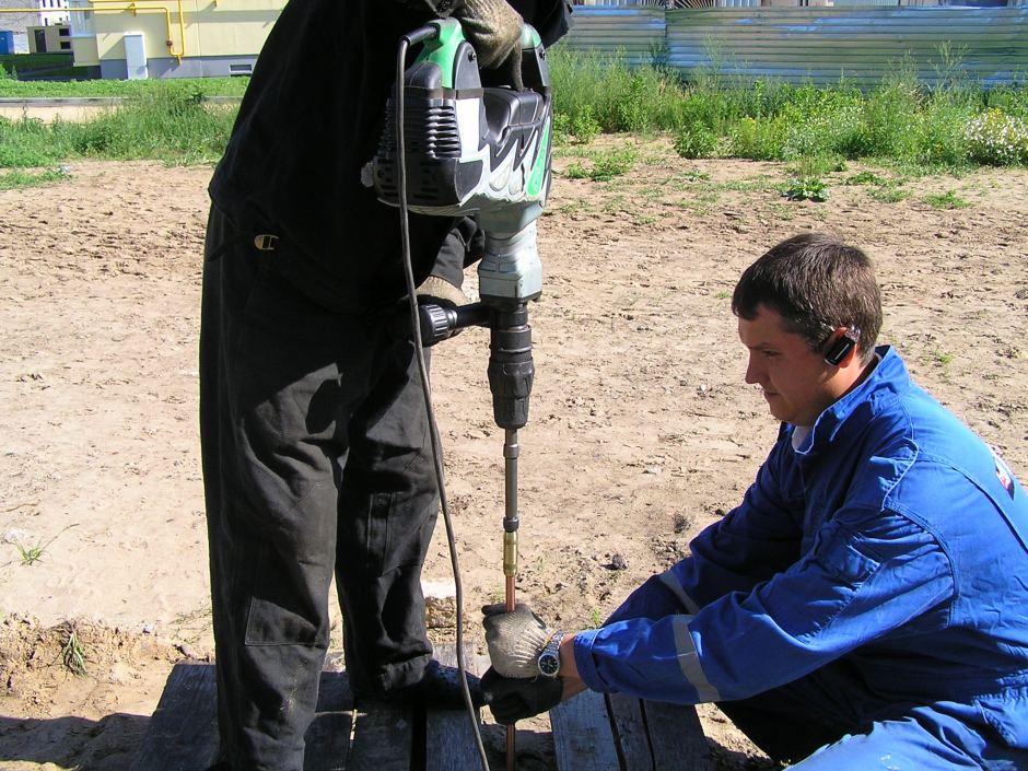 Монтаж вертикального заземлителя