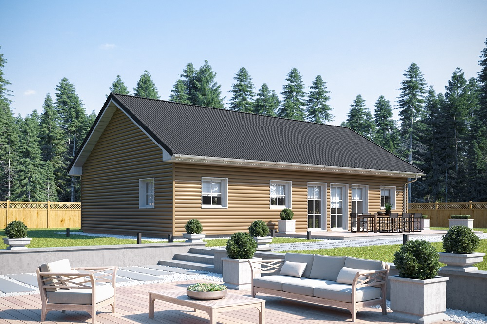 Holzrahmenhaus Aktionshaus Bungalow namens Helsinki bauen mit Sauna im Blockhaus Design