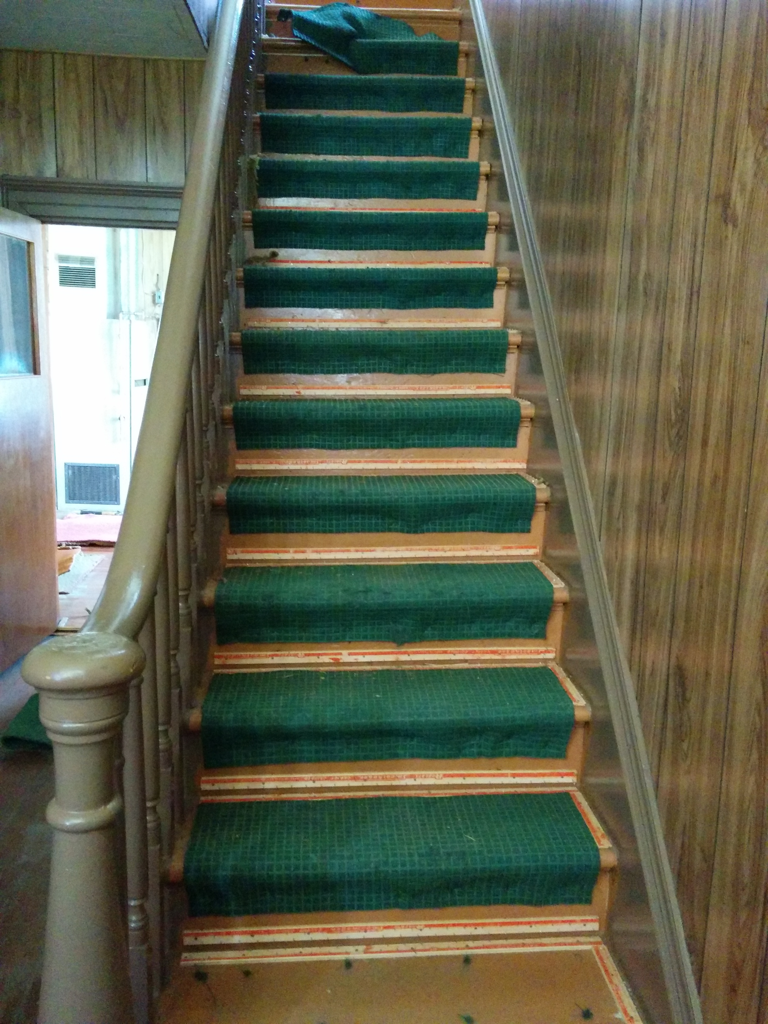 Hallway Stairs … Before After The Carpet Removal Elm   Carpet Strips For Stairs