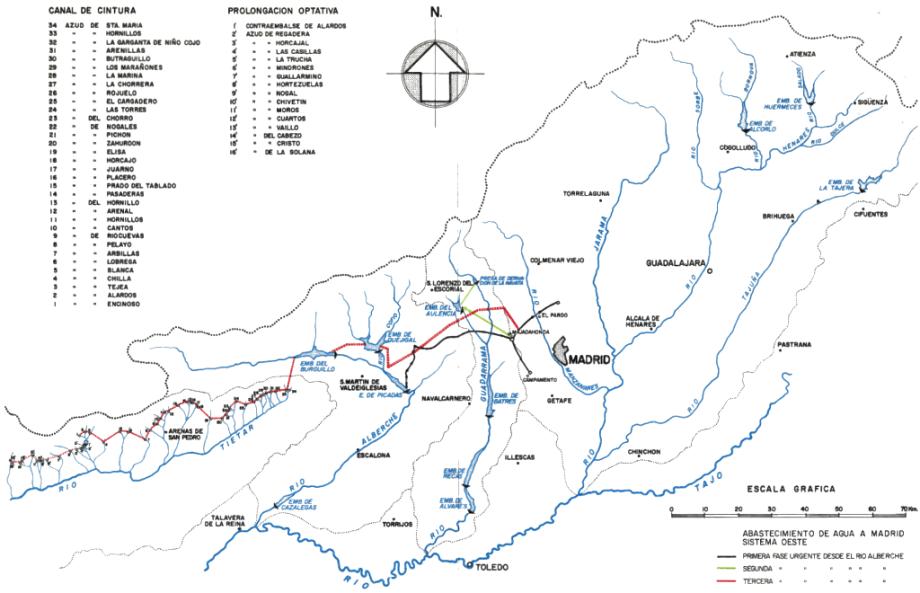 Contenido del Plano 8-Obras de reestructuración de la cuenca del Tajo, del Aprovechamiento conjunto de los recursos hidráulicos del centro y sureste de España. Complejo Tajo-Segura (Martín Mendiluce & Pliego Gutiérrez, 1967)