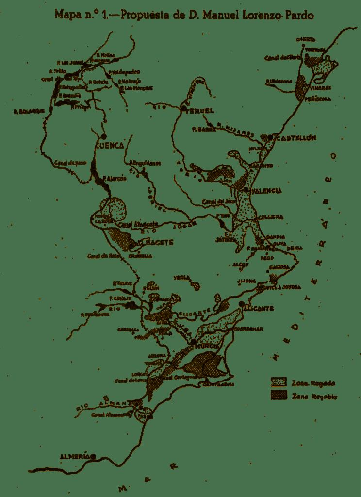 Esquema de la solución dada por Manuel Lorenzo Pardo para el trasvase de recursos a los riegos de Levante. (Consejo Económico Sindical de la provincia de Murcia, 1953)