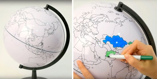 Blank Globe Which Lets You Color In The Places You