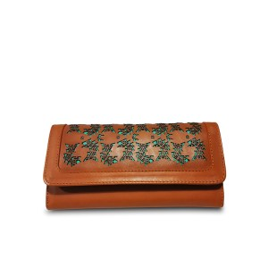 laser cut caramel leather wallet
