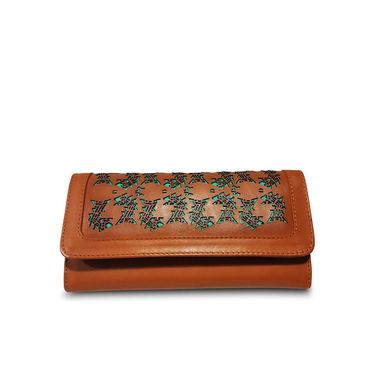 laser cut caramel leather wallet