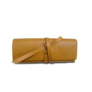 mustard leather eyeglass case