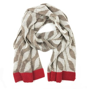 Graphic Alpaca Scarf Tan