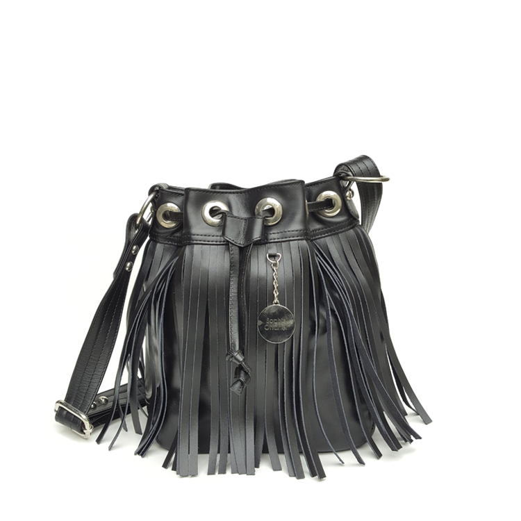 fringe bucket bag black
