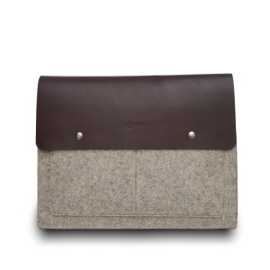 brown felt laptop case
