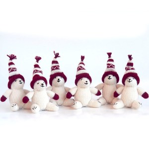 Polar Bear Ornaments in Hats Set Three
