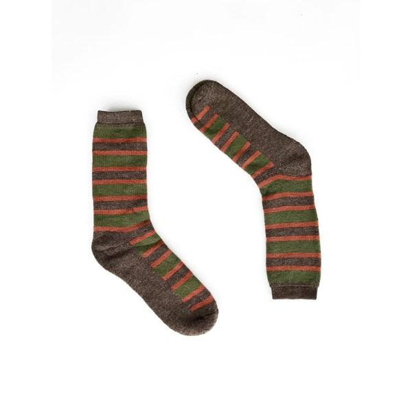 Multi Stripes Alpaca Wool Socks-brw