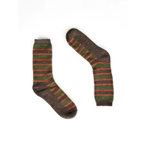Multi Stripes Alpaca Wool Socks-brw