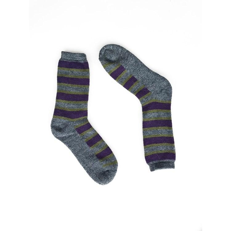Multi Stripes Alpaca Wool Socks Gry