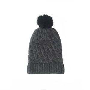 Pompom Beanie Hat Alpaca Charcoal