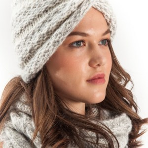 Twist Turban Knit Hat Ivory Blush