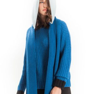 Color block scarf hood alpaca Blues