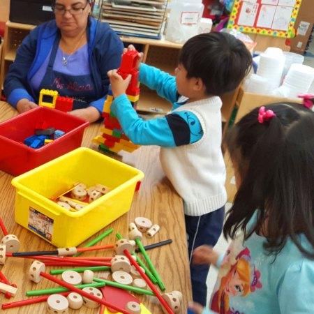 preschool children playing with blocks