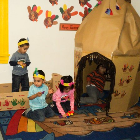 early preschool toddlers in tee-pee