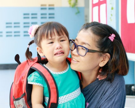 little girl crying on first day of school
