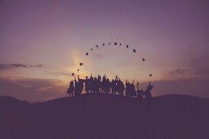 dawn, graduates, throwing hats