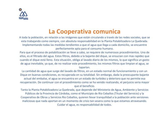 Tras la denuncia de los vecinos, desde la Cooperativa de Río Ceballos aclaran la situación de la Planta Potabilizadora 2