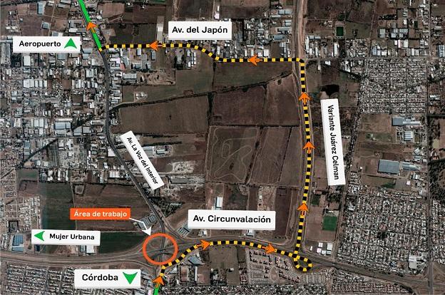 Sábado: corte total de tránsito en Av La Voz del Interior y Circunvalación 3