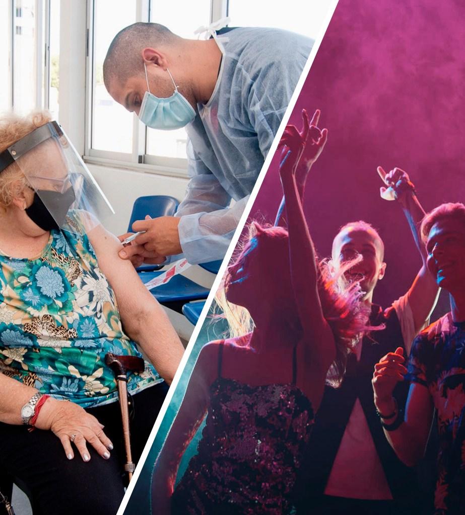 Persona mayor vacunándose versus gente de fiesta