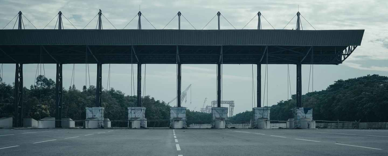 toll gate on a concrete pavement