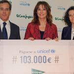 Ana Rosa Quintana entrega un gran cheque para UNICEF
