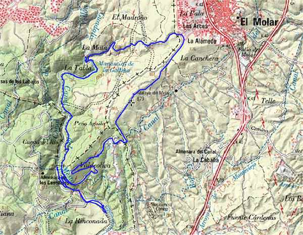 Mapa ruta Azud de Mesto